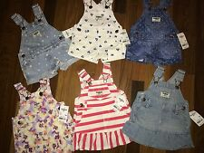 NWT Infant Girls 3m 3 MONTHS OSHKOSH 6 Pc Spring Summer Lot Dresses & Shortalls