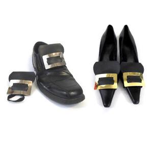 Men Women Colonial Shoe Buckles + Socks Pilgrim Pirate Elastic Silver Gold Metal