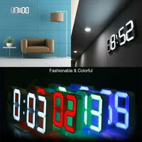 Modern 3D Digital White LED Wall Clock Alarm Clock Snooze 12/24 Hour Display USB