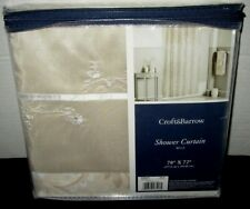 Croft & Barrow Belle Floral Fabric Shower Curtain Tan Taupe Cream $60 NEW