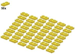 Used LEGO® - Plates - Yellow - 3023-03 - 1x2 (50Stk) - Platte - Gelb