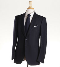 NWT $6200 CESARE ATTOLINI Solid Navy Peak Lapel Wool Suit Slim-Fit 38 R (Eu 48)