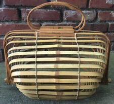 Vintage 40's-50's Bamboo Collapsible Cage Purse Handbag Basket