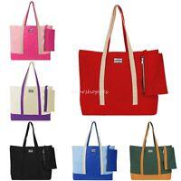 Women Two-Tone Canvas Travel Shopping Shoulder Tote Bag Organizer Pouch Handbag