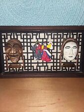 Vintage wood framed multicolored Asian face masks wall hanging, 5 x 9