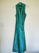 Events Collection Evening Cocktail Dress Midi Length Satin Green Aqua women's 10