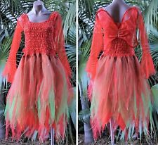 Womens Fairy Dress Halloween Costume with Sleeves & Wings - Red/Green
