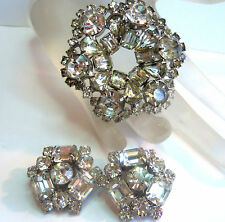 KRAMER Vintage Sparkly Incrusted AUSTRIAN CRYSTAL BROOCH&EARRINGS Estate Jew