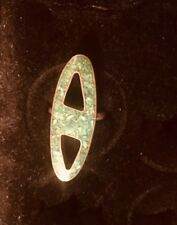 Vintage Native American Sterling Oblong  Turquoise Inlay Ring s. 5&3/4 Hallmark