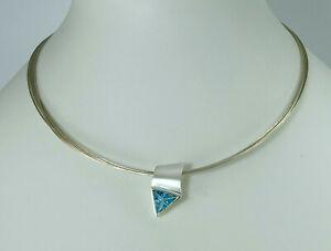 Collier, Blau-Topas, 5-strahl. Halsreif, 42,5 cm in Silber 925/ooo