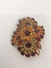 Green Gold Tone pin brooch Beautiful Vtg statement Juliana D&E Amber orange