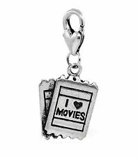 I Love Movies Theater Tickets Heart Film Lobster Clip Dangle Charm for Bracelets