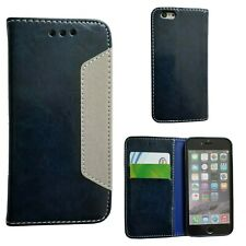 Apple iPhone 6 / 6s Blue Leather Wallet Case With Card Slots and Bill Slot