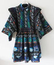 NUOVO H&M x KENZO PARIS Donna's con motivo FOLK Abito Verde Blu Scuro XS piccole HM