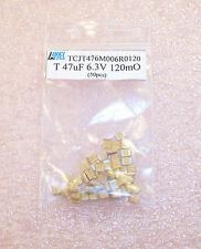 50 pcs 47uf 16V  T CASE 3512 LOW ESR SMD TANTALUM  TCJT476M006R0120 AVX BULK