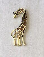 Vintage style large Giraffe  Brooch Pin enamel gold  Tone Metal