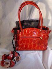 Unusual Vintage Red Faux Crocodile Leather Handbag with Flower Ties, 1990s