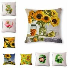 "18"" Sunflower lotus Linen Cotton Throw Pillow Case Cushion Cover Home Sofa Decor"