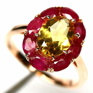 NATURAL 8 X 10 mm. GOLDEN YELLOW CITRINE & RED RUBY RING 925 SILVER SIZE9