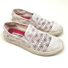 Steve Madden Girls White Lace Slip On Shoes Casual Beach Shoes Size 4