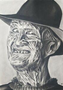 FREDDY KRUEGER Original Charcoal Drawing on paper, 'A Nightmare on Elm Street'