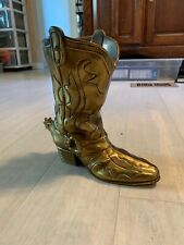 Brass Cowboy Boot Vase, with Spur, Western Art