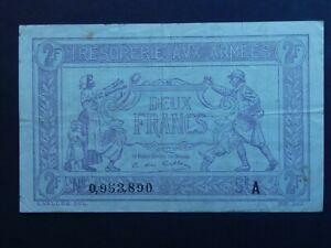 RARE: FRANCE: Emergency Money, TRESORERIE AVX ARMEES, 2 FRANCS,1919