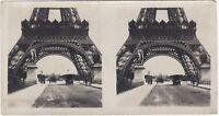 Pont Jena Parigi Torre Eiffel Automobile snapshot Foto Stereo Vintage Analogica