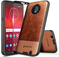 For Motorola Moto Z3/Z3 Play Case Shockproof Leather Phone Cover +Tempered Glass