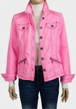 fe9d9da87 New Womens Ladies Pink Zip Pockets Denim Jacket Size 10 12 14 16 18 20 22