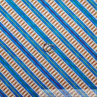 BonEful Fabric FQ Cotton Quilt Blue Red White Thomas the Tank Engine Train Track