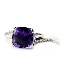 NEW NICE 1.2CT PURPLE AMETHYST SOLID 925 STERLING SILVER RING - O