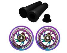 Scooter Wheels 110mm Combo Pair Blue Purple Stunt Rainbow Core + Handlebar Grips