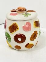 "Vintage Napco ""Cookies All Over"" Cookie Jar w/Walnut Knob on Lid 1950s"