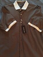 Michael Kors Men's Printed Woven Stretch Short Sleeve Shirt Sz Medium Slim Fit