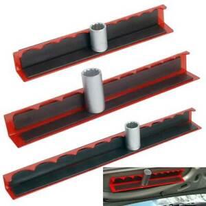 "3 Piece Magnetic Socket Holder Tray Rack Rail Shallow Deep 1/2"" 3/8"" 1/4"""