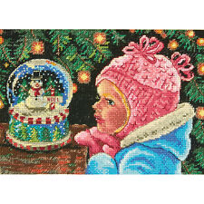 "Gold Petite Christmas Wishes Counted Cross Stitch Kit-7""X5"" 18 Count"