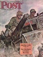 1944 Saturday Evening Post Cover October 28 - Seabees at work - Mead Schaeffer