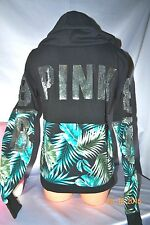 Victorias Secret Pink LIMITED ED BLING Palm Tropical Fern Hoodie NWT S