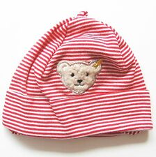 Umschlag Mütze Gr.43 Steiff NEU m.E rot weiß geringelt 100% Baumwolle Bär baby