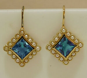 E165 VINTAGE style GENUINE 9ct Gold London Blue Topaz & Pearl Cluster Earrings