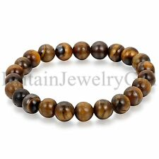 8MM Artificial Tiger Eye Stone Beaded Charm Bangle Mens Jewelry Bracelet 8.7""
