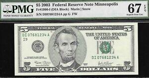 2003 $5 Fr 1990-I FRN Minneapolis 67 EPQ Superb Gem Uncirculated