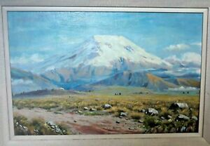 EMILIO MONCAYO-Oil Painting-Cotopaxi Volcano, Ecuador