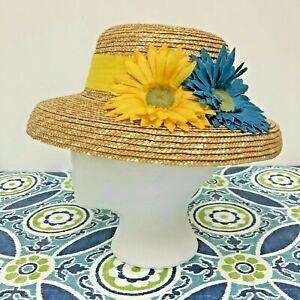 Vintage Laura Ashley 'Mother & Child' Straw Hat / Yellow & Blue Daisy Bonnet