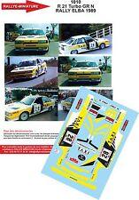 Decals 1/43 réf  1010 Renault  21 Turbo GR N RALLY ELBA 1989