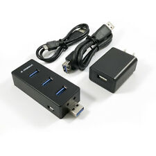 X-MEDIA 4-Port USB 3.0 Expandable Hub, 2A AC Adapter, USB Ext. Cable Included
