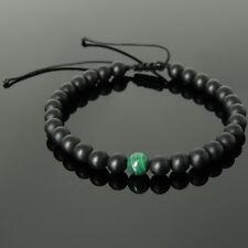 6mm Malachite Black Onyx Yoga Meditation Charged Chakra Stones Braided Bracelet