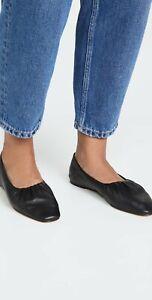 Vince Kali Black Leather Convertible Ruched Ballet Flat - Size 7 M NIB $295