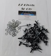 Vintage Ski-doo Snowmobile Rivets,50 3/16 Black Large Head Rivets & 50 washers